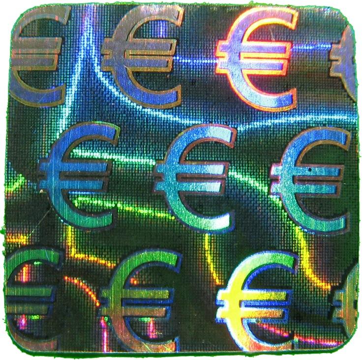 Hologramm-Aufkleber Siegel Euro, 10x10mm, Garantiesiegel, Sicherheitsetikett