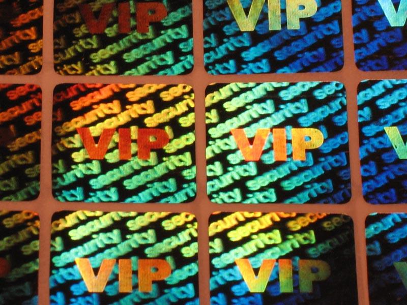 Hologramm-Aufkleber VIP Security, 20x20mm, Garantiesiegel, Sicherheitsetikett