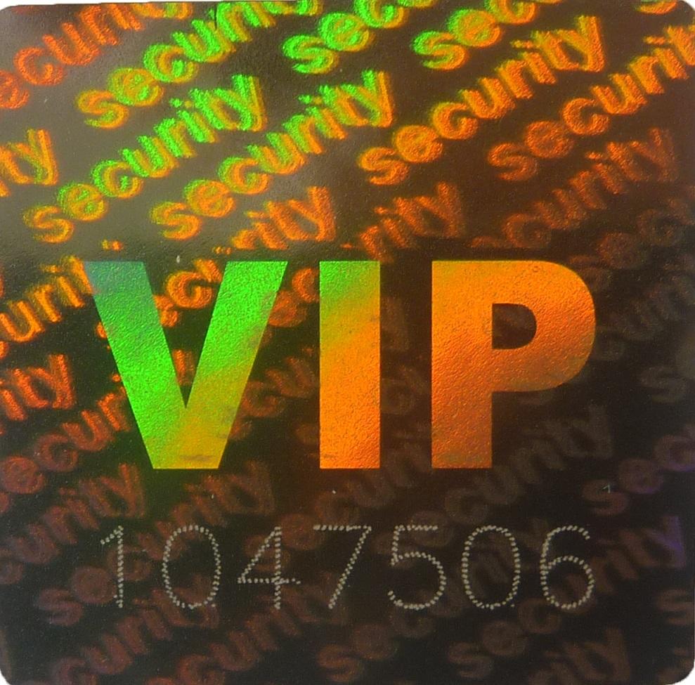 Hologramm-Aufkler VIP Security Nr., 20x20mm, Garantiesiegel, Sicherheitsetikett