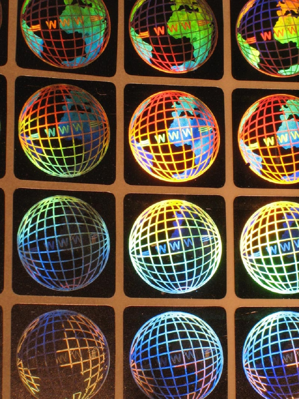 Hologramm-Aufkler 3D Welt, 20x20mm, Garantiesiegel, Sicherheitsetikett