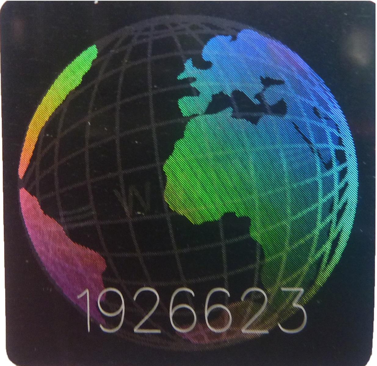 Hologramm-Aufkler 3D Welt Nummer, 20x20mm, Garantiesiegel, Sicherheitsetikett
