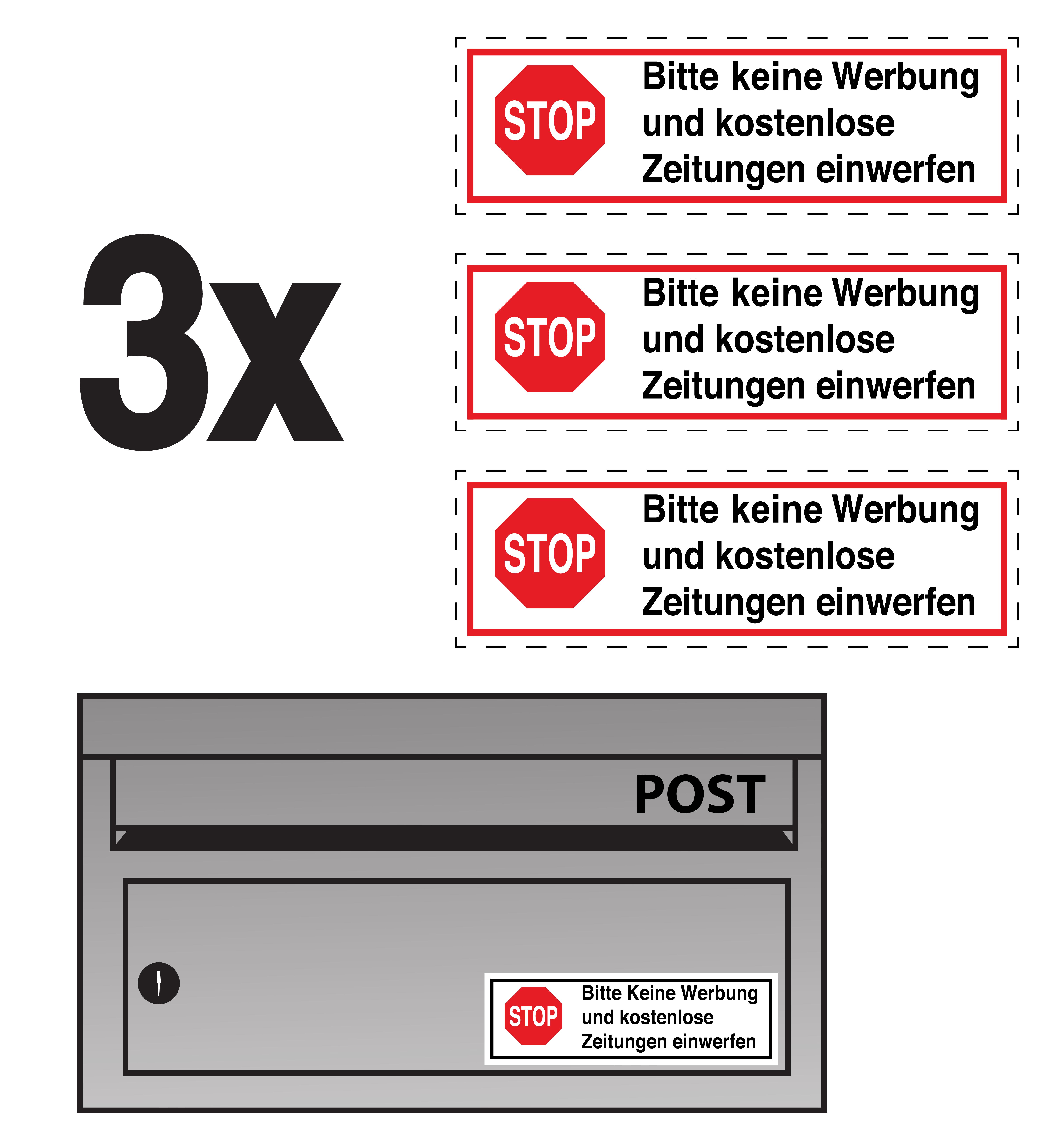3x Bitte Keine Werbung Und Kostenlos Zeitungen Grossversion Xxl