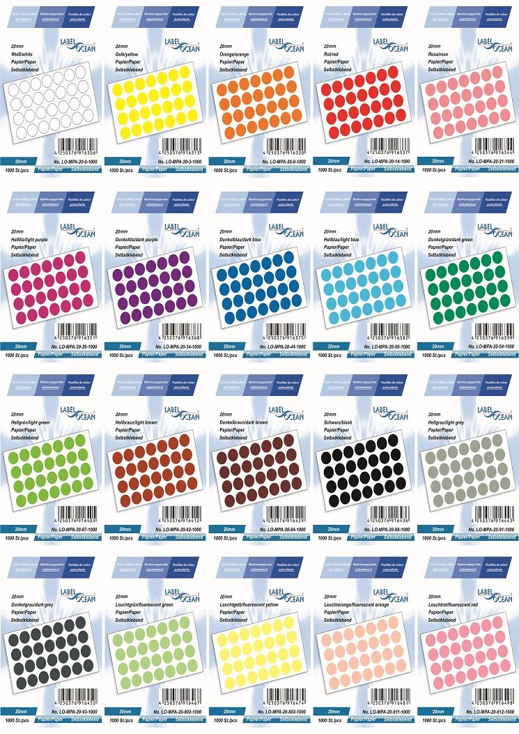Markierungspunkte, Klebepunkte 20mm, rund,  aus Papier von LabelOcean (R)