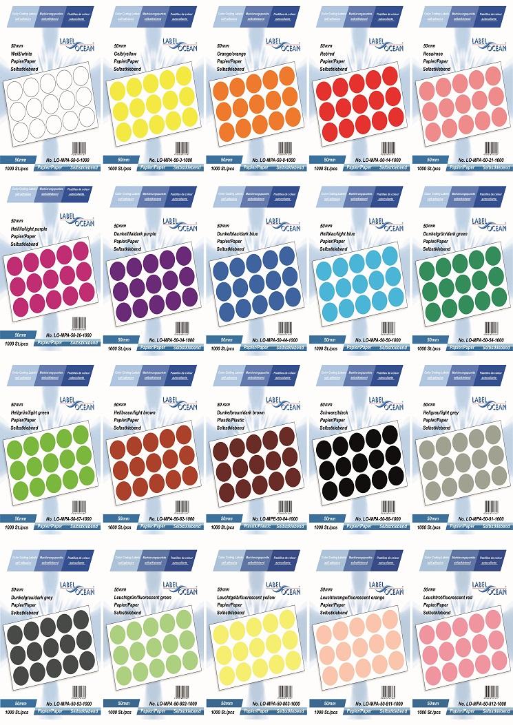 Markierungspunkte, Klebepunkte 50mm, rund,  aus Papier von LabelOcean (R)