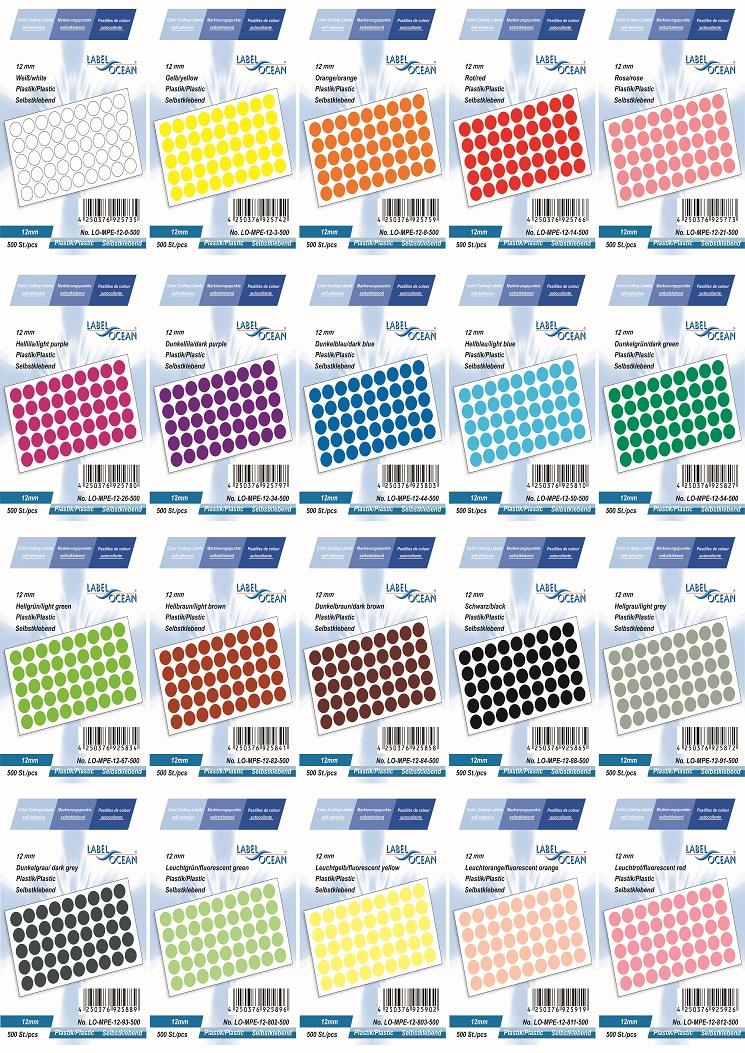 Markierungspunkte, Klebepunkte 12mm, rund,  aus Plastik von LabelOcean (R)