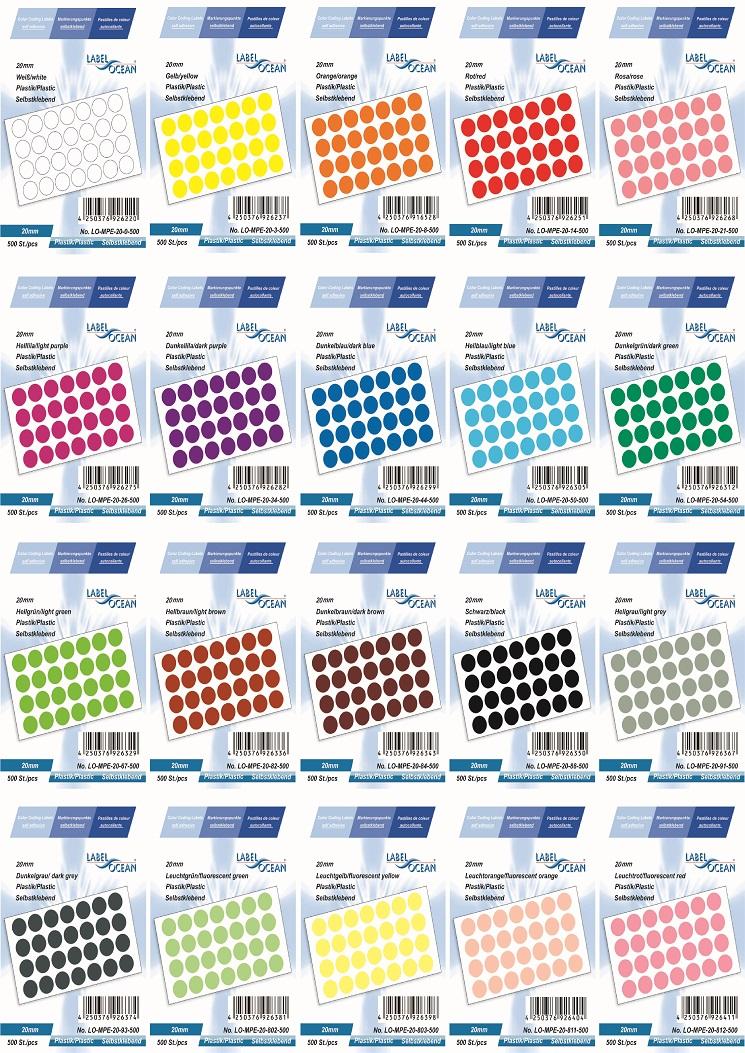 Markierungspunkte, Klebepunkte 20mm, rund, aus Plastik von LabelOcean (R)