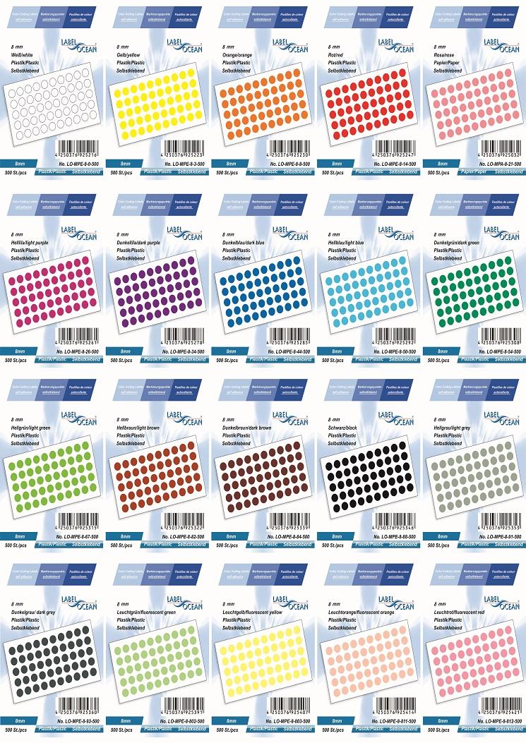 Markierungspunkte, Klebepunkte 8mm, rund,  aus Plastik von LabelOcean (R)