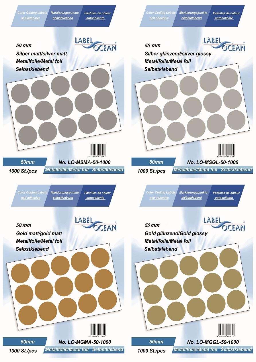 Markierungspunkte, Klebepunkte 50mm, rund, aus Metallfolie von LabelOcean (R)