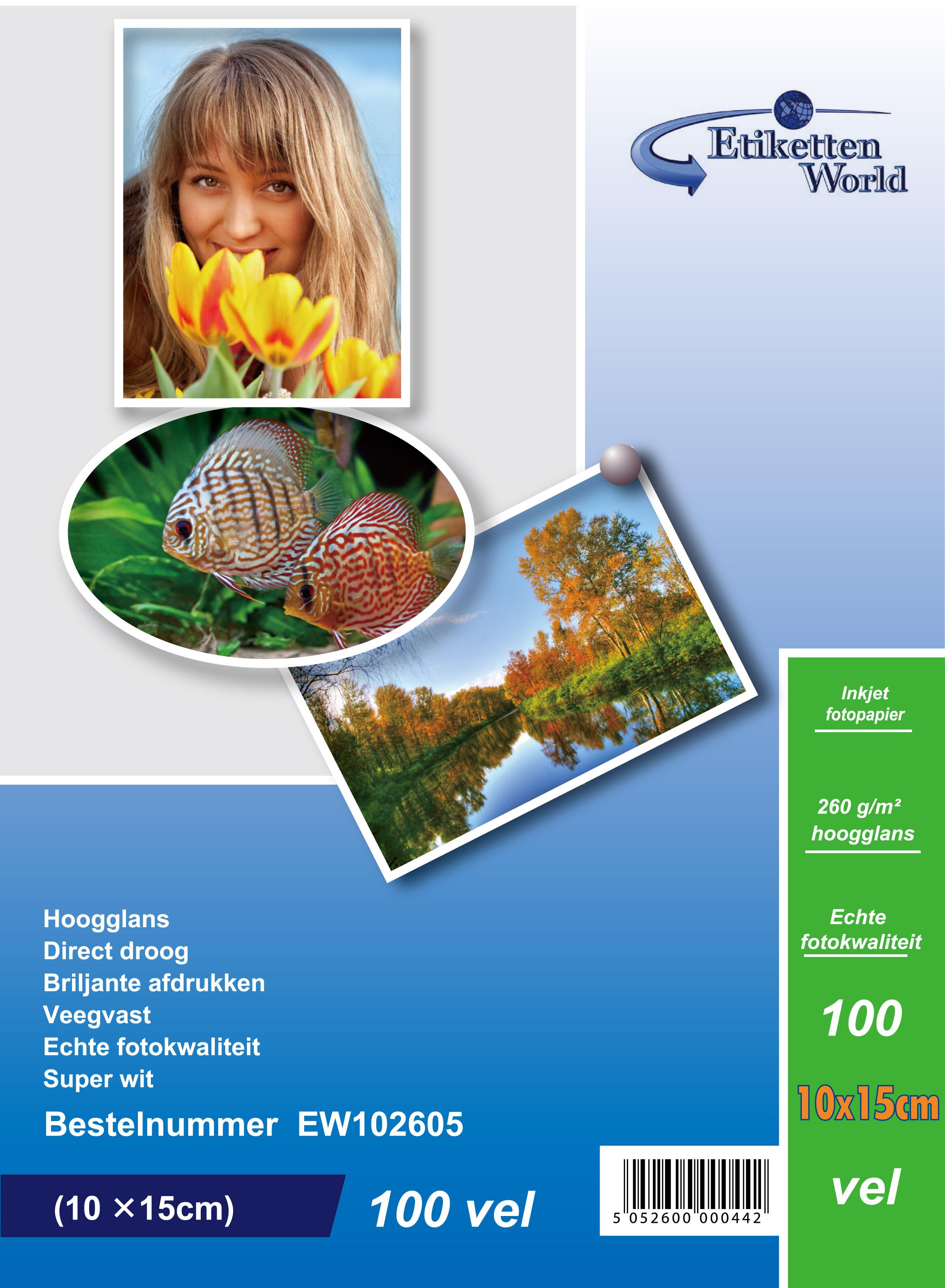 EtikettenWorld BV Fotopapier 10x15 cm 260g/qm High Glossy und wasserfest