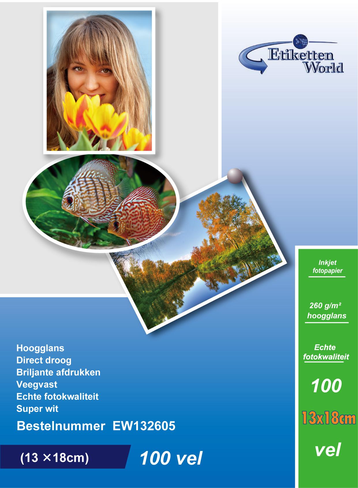 EtikettenWorld BV Fotopapier 13x18 260g/qm High Glossy und wasserfest