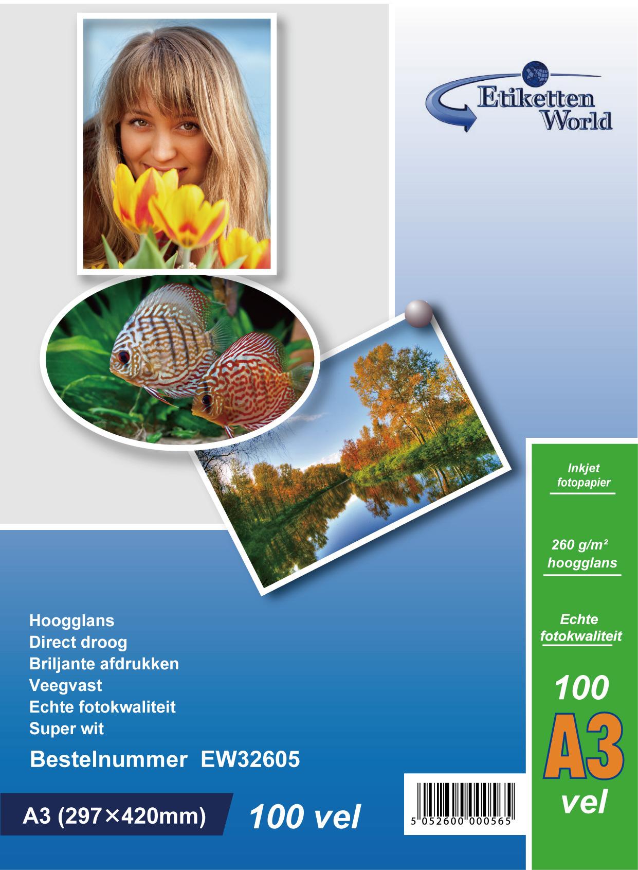EtikettenWorld BV Fotopapier A3 260g/qm High Glossy und wasserfest