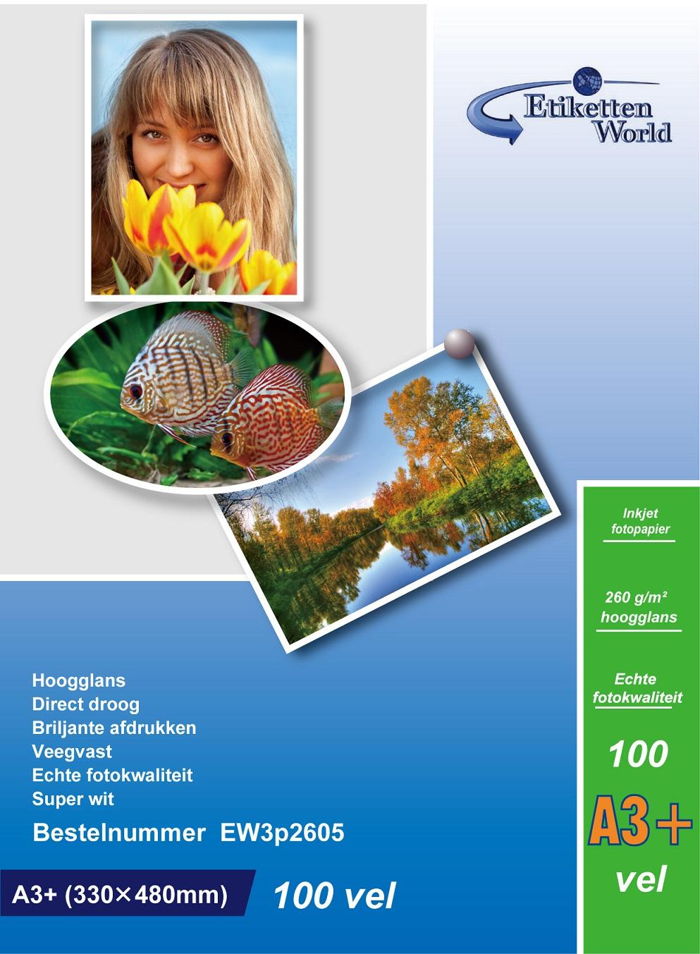 EtikettenWorld BV Fotopapier A3+ (330x480mm) 260g/qm High Glossy und wasserfest