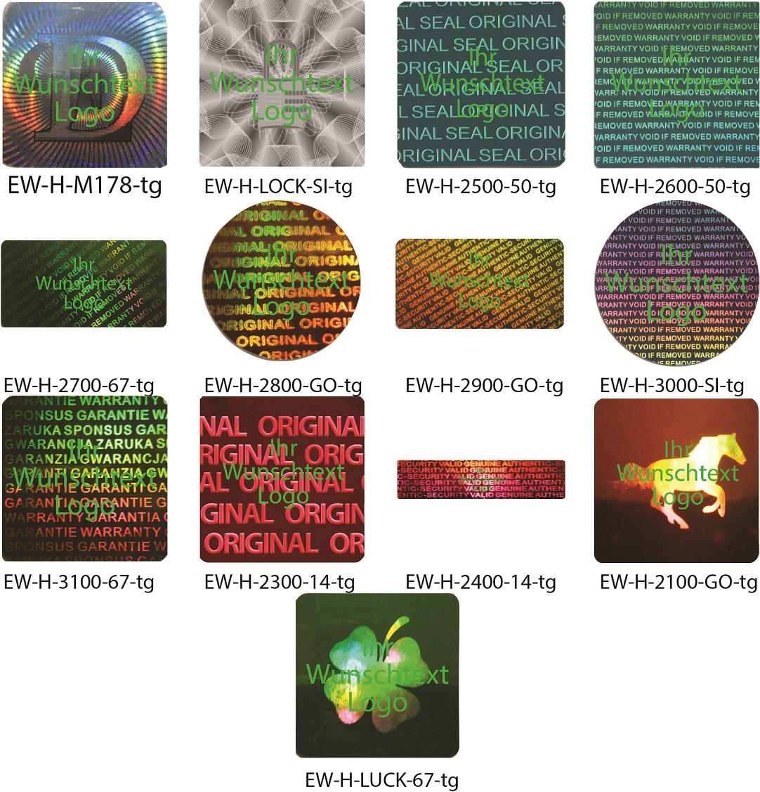 Hologramm-Aufkleber, Siegel Aufkleber, Hologramm Etikett, grün bedruckt von EW